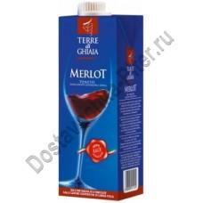 Вино Терре ди Гьяя Мерло (Terre di Ghiaia Merlot) красное сухое 11% 1л Тетрапак