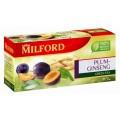 Чай MILFORD зеленый Слива/Женьшень 20 пак