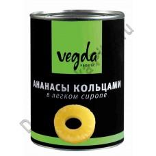 Ананасы кольцами Vegda в легком сиропе 580мл