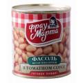 Фасоль белая Фрау Марта пикантная в томатном соусе 310г ж/б