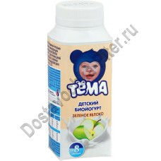 Биойогурт ТЁМА питьевой детский зеленое яблоко 2,8% 210г