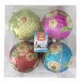 Украшения ёлочные набор шаров 4шт 10см зимние цветы мультиколор арт1004n1-356/4m1