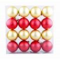 Набор шаров в коробке ёлочка 16шт 6см красный и золото yll8k365
