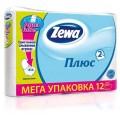 Тулетная бумага Zewa Плюс 2-слойная белая 12 рулонов